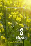 8-ое марта мать s дня счастливая голубое приветствие конструкции карточки флористическое Стоковое фото RF