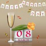 8-ое марта Международный день ` s женщин Vector иллюстрация для творческой рогульки, поздравительная открытка, поздравительная от Стоковое Изображение