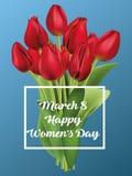 8-ое марта, международный день ` s женщин счастливый реалистические красные тюльпаны, вектор Стоковое Фото