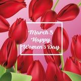 8-ое марта, международный день ` s женщин счастливый реалистические красные тюльпаны, Стоковые Фото