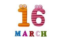 16-ое марта на белых предпосылке, номерах и письмах Стоковая Фотография RF