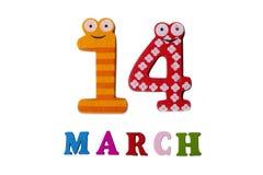 14-ое марта на белых предпосылке, номерах и письмах Стоковое Изображение RF