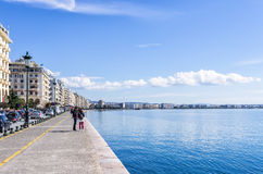 11-ое марта 2016 - портовый район Thessaloniki, Греции, на солнечный день Стоковые Фотографии RF