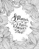 8-ое марта Счастливый день ` s женщины! Рамка линейной лилии флористическая Стоковая Фотография RF