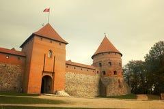 14-ое начатое trakai Литвы острова конструкции столетия замока каменное было Стоковое Изображение