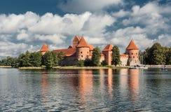 14-ое начатое trakai Литвы острова конструкции столетия замока каменное было Стоковое Изображение RF