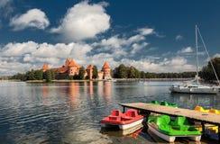 14-ое начатое trakai Литвы острова конструкции столетия замока каменное было Стоковая Фотография RF