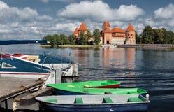 14-ое начатое trakai Литвы острова конструкции столетия замока каменное было Стоковое Фото