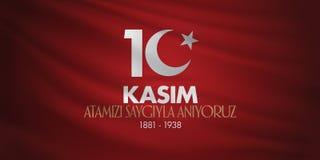 10-ое ноября, годовщина дня смерти Mustafa Kemal Ataturk День памяти погибших в войнах Ataturk Дизайн афиши TR: 10 Kasim, Atamizi стоковые изображения