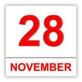 28-ое ноября День на календаре Стоковые Фото