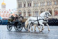 5-ОЕ НОЯБРЯ 2016: Репетиция парадного костюма парада, преданная к 7-ое ноября 1941 на красной площади в Москве Стоковое Изображение