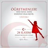 24-ое ноября, турецкая карта торжества дня учителей иллюстрация вектора