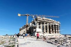 2017 15-ое октября - висок Парфенона под конструкцией, акрополем, Афинами, Грецией Стоковое фото RF