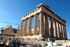 2017 15-ое октября - висок Парфенона под конструкцией, акрополем, Афинами, Грецией Стоковые Фотографии RF
