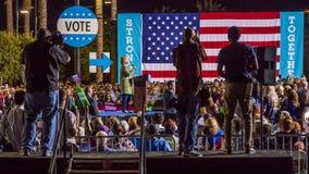 12-ое октября 2016, демократичный кандидат в президенты Хиллари Клинтон агитирует в центре для искусств, Лас-Вегас Смита, Неваде Стоковое Фото