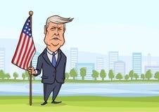 30-ОЕ ОКТЯБРЯ 2017: Изобржайте в карикатурном виде характер американского президента Дональд Трамп, стоя с флагом на предпосылке  иллюстрация штока
