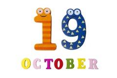 19-ое октября на белых предпосылке, номерах и письмах Стоковая Фотография RF