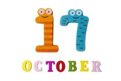 17-ое октября на белых предпосылке, номерах и письмах Стоковые Фотографии RF