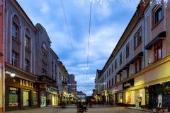 14-ое октября Света 2017 дороги Uzhgorod Украины ночи Стоковое Изображение
