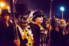 17-ое октября 2015, Hastings, Великобритания, человек одевал для шествия костра Стоковые Изображения