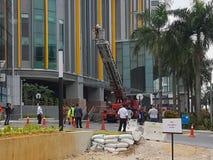 5-ое октября 2016 Subang Jaya, Малайзия Тренировка противопожарного инструктажа на гостинице Subang USJ саммита была сделана сего стоковое изображение