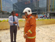 5-ое октября 2016 Subang Jaya, Малайзия Тренировка противопожарного инструктажа на гостинице Subang USJ саммита была сделана сего стоковые фото