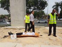 5-ое октября 2016 Subang Jaya, Малайзия Тренировка противопожарного инструктажа на гостинице Subang USJ саммита была сделана сего стоковые изображения