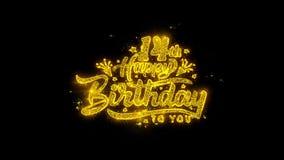 14-ое оформление с днем рождений написанное с золотыми фейерверками искр частиц