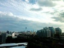 26-ое сентября 2017 в городе Пекина, Китае В осени в после полудня, погода поворачивает в солнечное от очень Стоковые Изображения