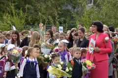 1-ое сентября, день знания в русской школе Стоковые Фото