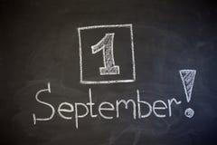 1-ое сентября надпись на классн классном мела Стоковые Изображения