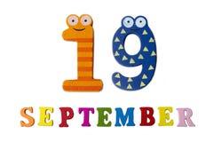 19-ое сентября на белой предпосылке, письмах и номерах Стоковые Изображения RF
