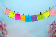 1-ое сентября надпись на стикерах, голубая предпосылка Стоковые Изображения RF