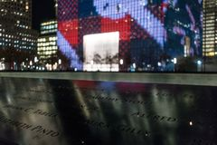 29-ое сентября 2017 - НОВЫЙ ЙОРК/США - мемориал к 11-ое сентября, мир tr Стоковое Изображение RF
