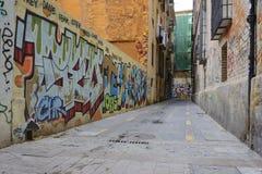 25-ое сентября 2016: Тоскливость пустой улицы в городе Валенсии Стоковое Изображение RF