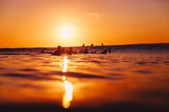 8-ое сентября 2018 bali Индонесия Серферы на компановке на заходе солнца Профессиональный серфинг в океане, пляже Bingin стоковое изображение