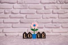 14-ое февраля День 14 месяца на деревянном календаре с цветком игрушки на белой предпосылке кирпича valentines дня счастливые чел стоковая фотография