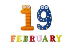 19-ое февраля на белых предпосылке, номерах и письмах Стоковая Фотография