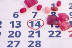 14-ое февраля на календаре Стоковая Фотография