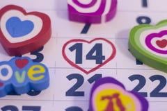 14-ое февраля на календаре Стоковое Фото