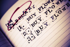 14-ое февраля, день валентинки, покупка цветет текст Стоковая Фотография RF