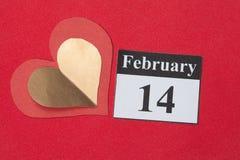 14-ое февраля, день валентинки, сердце от красной бумаги Стоковая Фотография
