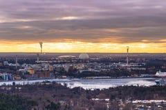 11-ое февраля 2017 - панорама городского пейзажа Стокгольма, Swed Стоковые Изображения