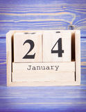 24-ое января Дата 24-ое января на деревянном календаре куба Стоковое Изображение