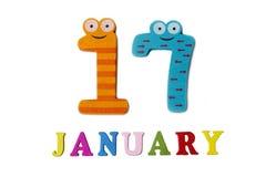 17-ое января на белых предпосылке, номерах и письмах Стоковые Изображения