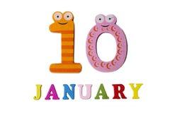 10-ое января на белых предпосылке, номерах и письмах Стоковая Фотография RF