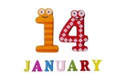 14-ое января на белых предпосылке, номерах и письмах Стоковое Изображение