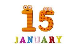 15-ое января на белых предпосылке, номерах и письмах Стоковая Фотография