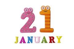 21-ое января на белых предпосылке, номерах и письмах Стоковые Фото