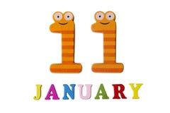 11-ое января на белых предпосылке, номерах и письмах Стоковые Изображения